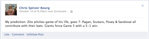 screen shot of Facebook status, Oct 10