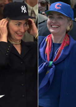 Unless you are Hillary Clinton; no baseball caps with suits, please. (From mediamatters.org)