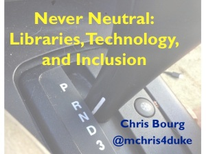 Title slide for Never Neutral talk